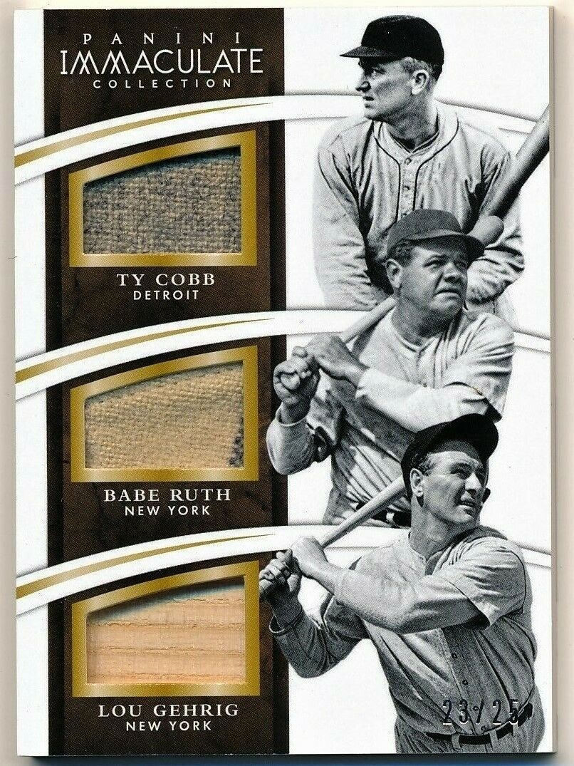 2015 Immaculate Collection Babe Ruth/ Lou Gehrig/ Ty Cobb Game Used Card #23/25
