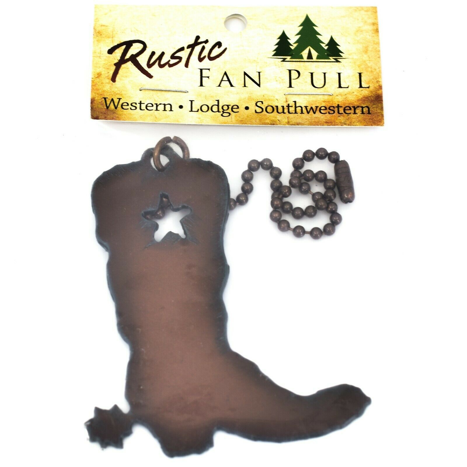 Country Western Rusted Patina Iron Metal Cutout Cowboy Boot Light Pull Chain