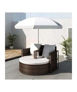 Outdoor Rattan Lounge With Parasol Garden Sofa Set Patio Lounger Chair C... - $348.18