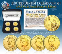 2010 MINT 24K GOLD USA PRESIDENTIAL $1 DOLLAR 4 COINS SET WITH BOX - $21.03