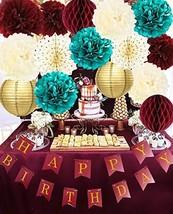 Burgundy Teal Gold Birthday Party Decorations Burgundy Gold Happy Birthday Banne image 1