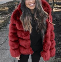 Women's thick Faux Fur Fox Fur Hooded Coat image 4
