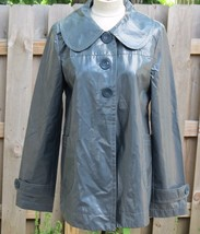Tulle Rain Jacket Swing Short Coat Gray Round Collar Anthropologie S M- ... - $52.25