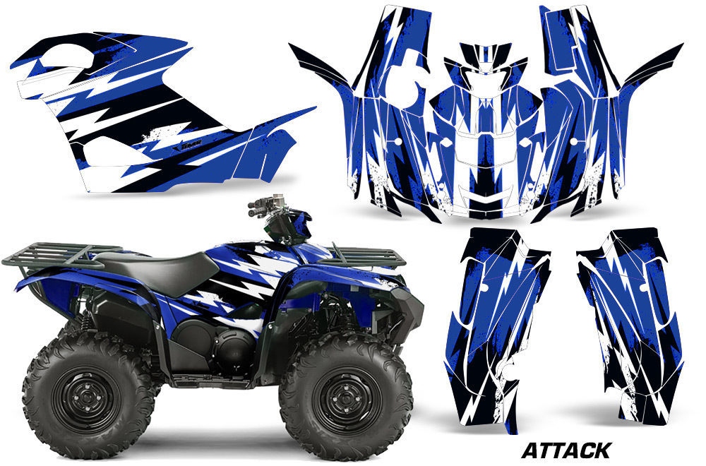 ATV Graphics Kit Quad Decal Wrap For Yamaha Grizzly 550/700 2015-2016 ATTACK BLU
