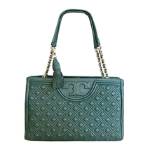 New Tory Burch Fleming Leather Open Shoulder Bag - Green - $375.00
