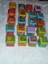 LOT 20pc FISHER PRICE Sensory PEEK A BOO Activity BLOCKS CIRCUS FOOD ANI... - $34.64
