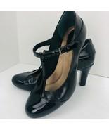 Giani Bernini Size 7  Vineza Memory Foam Mary Jane Pumps Black Patent Shoe  - $49.49