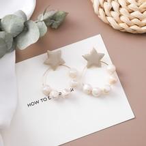 2020 New Korean Acrylic Symphony Simulated Pearl Shell Metal Long Tassel Drop Ea - $13.24