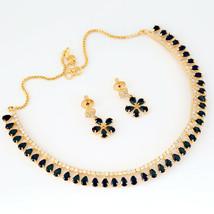 GOLD TONE SEMIPRECIOUS BLACK STONES WITH WHITE CUBIC ZIRCONIA JEWELLERY - $19.79