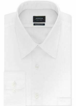 Arrow Men's Classic-Fit Non-Iron Solid Dress Shirt White 15-15.5 32/33