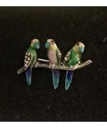 Alice Caviness,Stamped,Silver,Germany, Parrots, Branch, Enamel, Birds,Vi... - $285.00