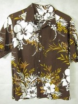 VINTAGE Made in Hawaii Brown Aloha Shirt With White Hibiscus Blooms L - $33.74