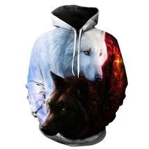 Cool 3d Wolf Print Hoodies Men Women Autumn Winter Fashion Casual Hoodie Tops Pu