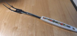 Vintage EKCO Chromium kitchen Meat Fork White plastic handle Spice of Li... - $12.17