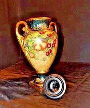 Ceramic hand paintedd Vase with Lid AA18-1265 VintageDouble Handled image 6