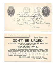 UX18 Boston MA to Mattawamkeag ME 1905 Beacon Falls Rubber Shoe Advert Card - $7.99