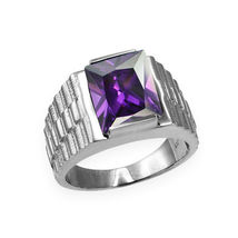 10K White Gold Mens Square CZ Birthstone Watchband Ring image 3