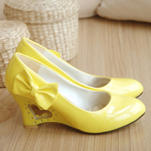 pp357 sweet high wedge w hollow heart heels,US Size 4-8.5,yellow - $42.80