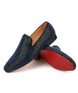 Merlutti Blue Rhinestone loafers Crystals Suede Men's Flats - $168.29+