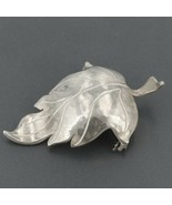 Vintage Hand Wrought Sterling Silver Hammered Leaf Pin Artisan Signed KR... - $29.99