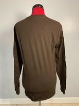 Hanes Da Uomo M Casual Marrone Scuro Henley T-Shirt 3 Bottoni Medio Media - £14.62 GBP
