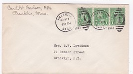 FRANKLIN MASS. JANUARY 17 1933 ON 1C FRANKLIN STAMP SIGNED BY POSTMASTER - $3.43