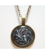Three Headed Dragon Glass Cabochon Pendant Necklace SC541 - $6.98