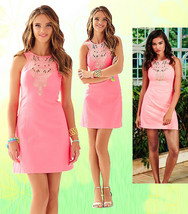 $198 Lilly Pulitzer Largo Pink Sun Ray Gold Embroidered Cut-in Shift Dress - $161.99