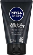 Nivea Men Deep Impact Intense Clean Face&Beard Wash Black Carbon 100ml F... - $14.01