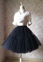 Black Tulle Horse Hair Puffy Elastic Tulle Knee A Line Wedding Skirt NWT image 2