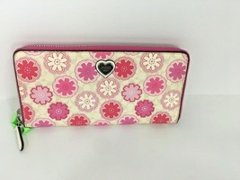 Coach Waverly Wallet Daisy Floral Zip Around Accordion White Pink W1 - $89.09