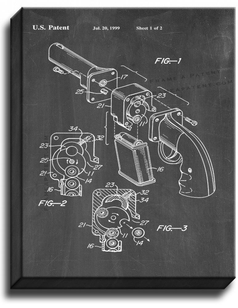 Primary image for Resilient Breech Firearm Patent Print Chalkboard on Canvas