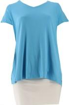 Isaac Mizrahi Essentials V-neck Short Slv Top Ocean Blue XL NEW A286116 - $24.73