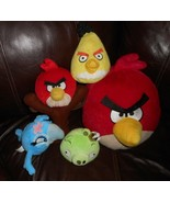 LOT OF 5 ANGRY BIRDS RED PILLOW BLUE RIO GREEN YELLOW STUFFED ANIMAL PLU... - $45.82