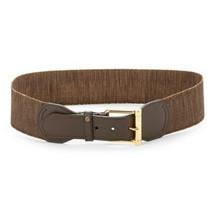 Lauren Ralph Lauren Roller Buckle Stretch Belt, Brown/Natural, Large - $33.05