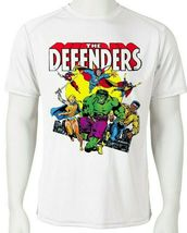 Defenders Dri Fit graphic Tshirt moisture wick SPF retro comic sport Sun Shirt image 3