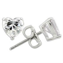 Girls Womens Sterling Silver Clear Small 6mm Valentine Heart Love Stud Earrings - $26.00