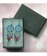 Earrings, Blue Dream Catcher, Dangle, Native American, Fish hook ear wires - $9.79