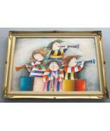 J. Roybal Vintage Extra Large Colorful Art of Children Playing Flutes Mu... - $569.00
