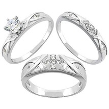 Men's & Women's 1.00 Ct Diamond Sterling Silver Trio Engagement Wedding Ring Set - $143.93