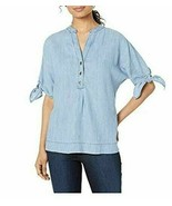 Trina Turk Chambray Top size Small Calle Ocho Tie-Cuff Button-Neck Denim... - $52.77