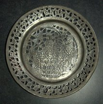 Antique Persian Tray Silver Plated Copper King Ahasuerus Oriental Wall Hang