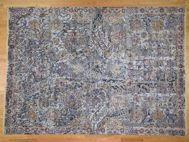 """9'x12'4"""" Pure Silk With Oxidized Wool Flower Brusts Design HandKnotted G... - $5,252.72"""