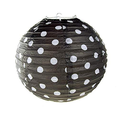 Primary image for Polka Dot Hanging Paper Lanterns, 12-Inch #PS_16825 (Black)