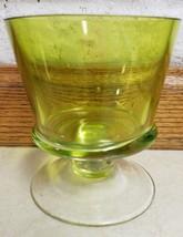 VTG Vaseline Depression Green Candy Dish Pedestal Emerald - $28.04