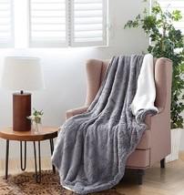 GRAY GREY Faux Fur Sherpa Luxury Plush Light Weight Soft Throw Blanket 5... - $45.74 CAD