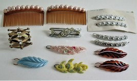 Vtg lot 10 Hair Clips Barrettes Ponytail Holder 2 Combs 1950's Fish Flow... - $26.59