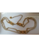 Vintage Gold-tone Enamel Panel Link Chain Double Belt RARE Marked - $148.50
