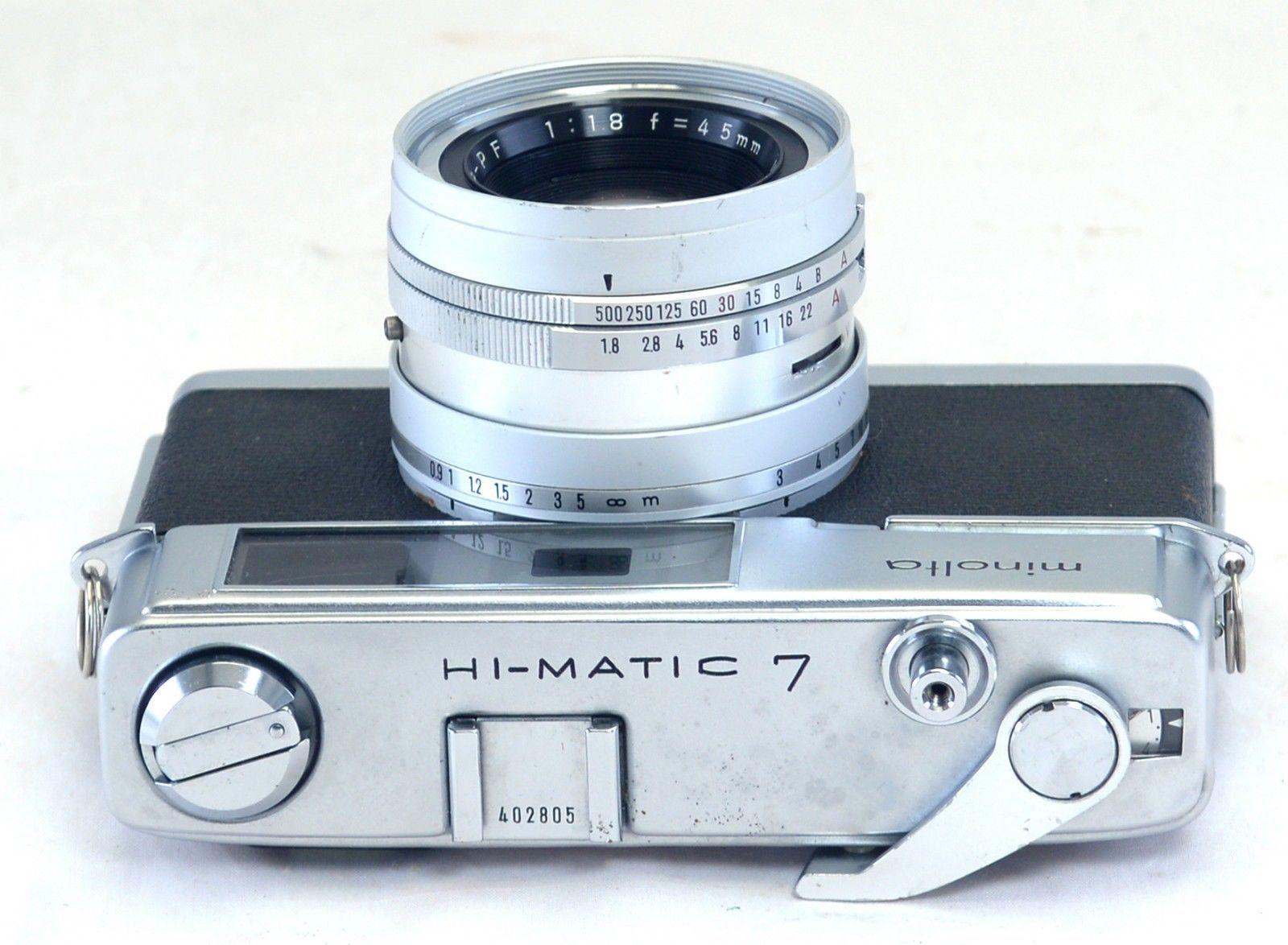 MINOLTA HI-MATIC 7 35mm Film VINTAGE Camera ROKKOR 45mm F1.8 Lens JAPAN