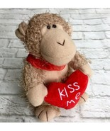 NWT Kiss Me Love Monkey Plush Embroidered Red Heart Collar Stuffed Animal - $5.94